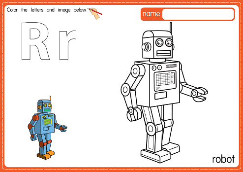 Vector illustration of kids alphabet coloring book page with outlined clip art to color. Letter R for Robot.