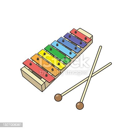 istock Vector illustration of kids alphabet coloring book page with outlined clip art to color toys xylophone 1327008361