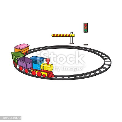 istock Vector illustration of kids alphabet coloring book page with outlined clip art to color toys train 1327008370