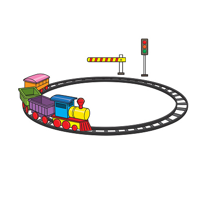 Vector illustration of kids alphabet coloring book page with outlined clip art to color toys train