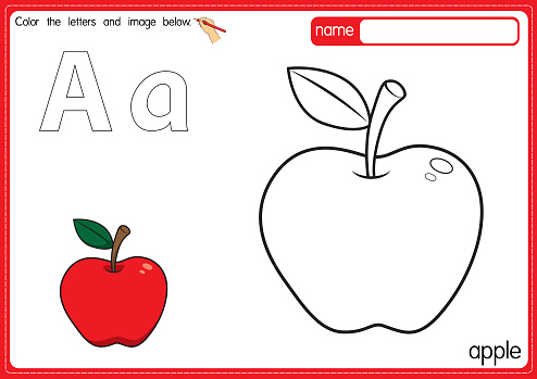 Vector illustration of kids alphabet coloring book page with outlined clip art to color. Letter A for Apple.