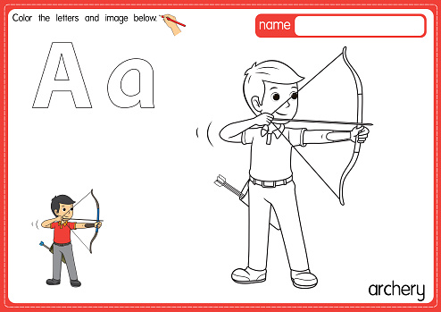 Vector illustration of kids alphabet coloring book page with outlined clip art to color. Letter A for Archery.