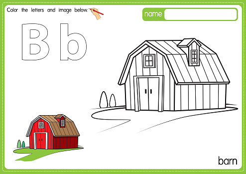 Vector illustration of kids alphabet coloring book page with outlined clip art to color. Letter B for Barn.