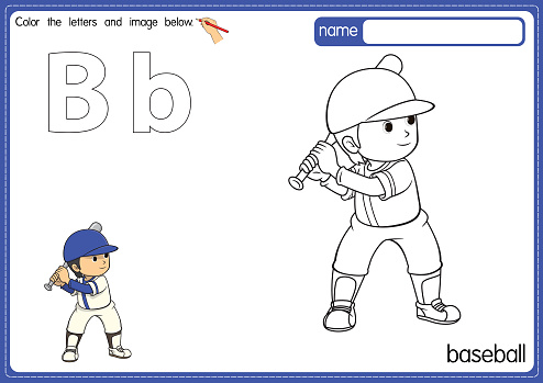 Vector illustration of kids alphabet coloring book page with outlined clip art to color. Letter B for Baseball.
