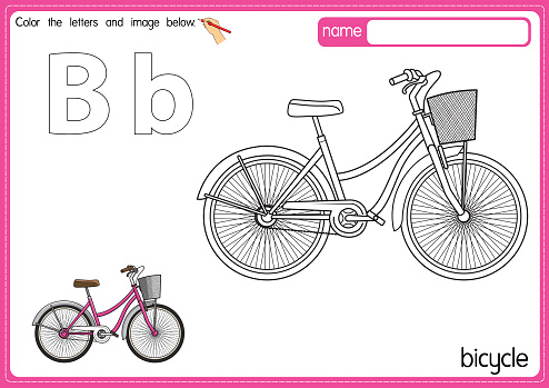Vector illustration of kids alphabet coloring book page with outlined clip art to color. Letter B for Bicycle.