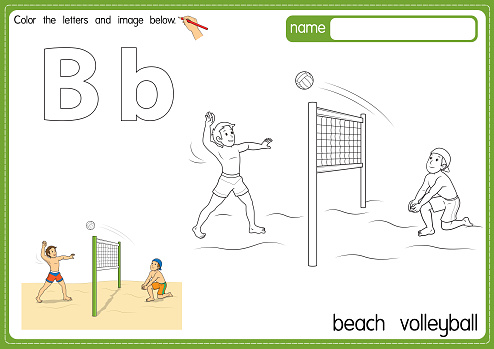 Vector illustration of kids alphabet coloring book page with outlined clip art to color. Letter B for Beach Volleyball.