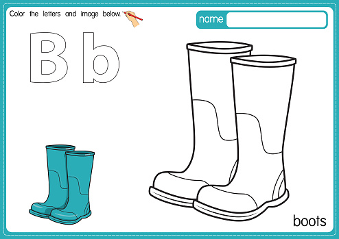 Vector illustration of kids alphabet coloring book page with outlined clip art to color. Letter B for Boots.