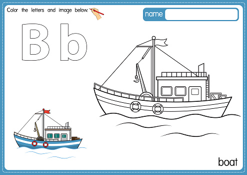 Vector illustration of kids alphabet coloring book page with outlined clip art to color. Letter B for Boat.