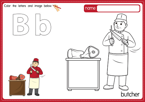Vector illustration of kids alphabet coloring book page with outlined clip art to color. Letter B for Butcher.