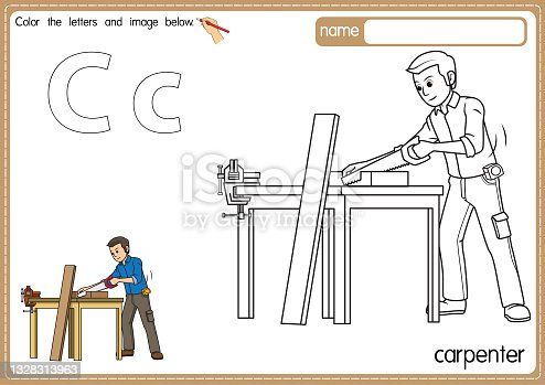 istock Vector illustration of kids alphabet coloring book page with outlined clip art to color. Letter C for Carpenter. 1328313963