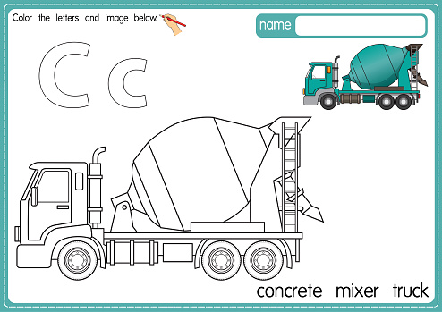 Vector illustration of kids alphabet coloring book page with outlined clip art to color. Letter C for Concrete mixer truck.
