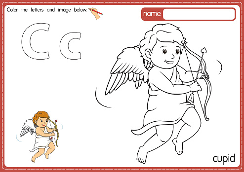 Vector illustration of kids alphabet coloring book page with outlined clip art to color. Letter C for Cupid.