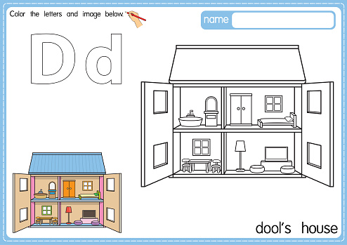 Vector illustration of kids alphabet coloring book page with outlined clip art to color. Letter D for Dool's House.
