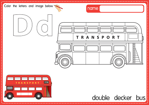 Vector illustration of kids alphabet coloring book page with outlined clip art to color. Letter D for Double decker bus.