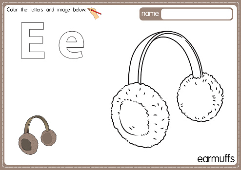 Vector illustration of kids alphabet coloring book page with outlined clip art to color. Letter E for Earmuffs.