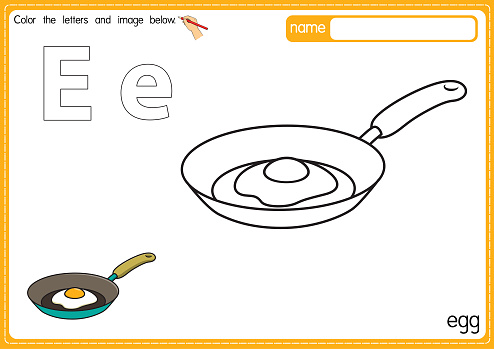Vector illustration of kids alphabet coloring book page with outlined clip art to color. Letter E for Egg.