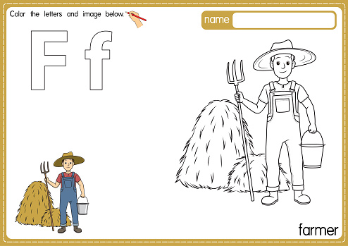Vector illustration of kids alphabet coloring book page with outlined clip art to color. Letter F for Farmer.
