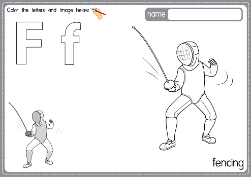 Vector illustration of kids alphabet coloring book page with outlined clip art to color. Letter F for Fencing.