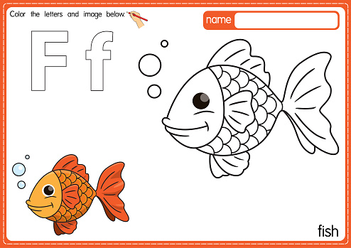 Vector illustration of kids alphabet coloring book page with outlined clip art to color. Letter F for Fish.
