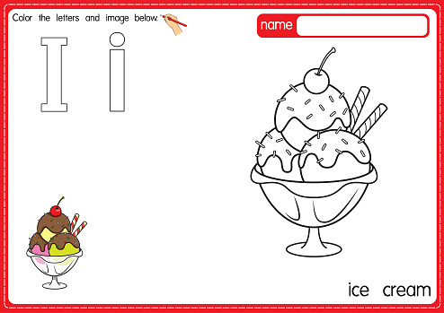 Vector illustration of kids alphabet coloring book page with outlined clip art to color. Letter I for Ice cream.