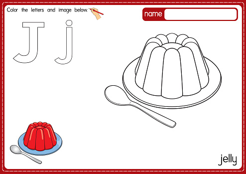 Vector illustration of kids alphabet coloring book page with outlined clip art to color. Letter J for Jelly.