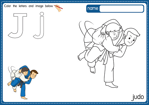 Vector illustration of kids alphabet coloring book page with outlined clip art to color. Letter J for  judo.