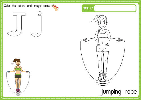 Vector illustration of kids alphabet coloring book page with outlined clip art to color. Letter J for  Jumping rope.