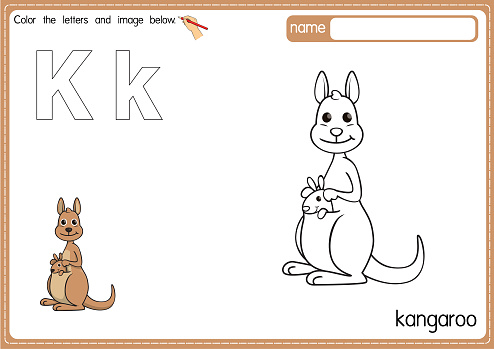 Vector illustration of kids alphabet coloring book page with outlined clip art to color. Letter K for  Kangaroo.