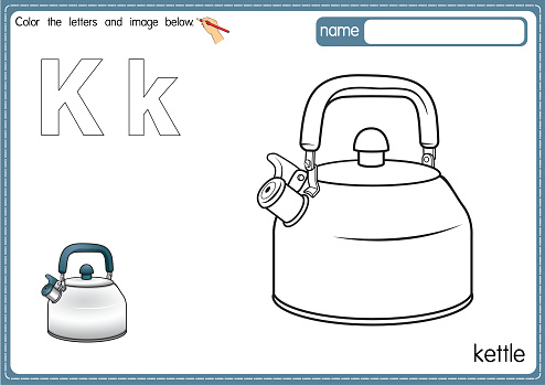 Vector illustration of kids alphabet coloring book page with outlined clip art to color. Letter K for  kettle.