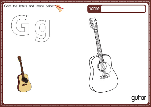 Vector illustration of kids alphabet coloring book page with outlined clip art to color. Letter G for Guitar.