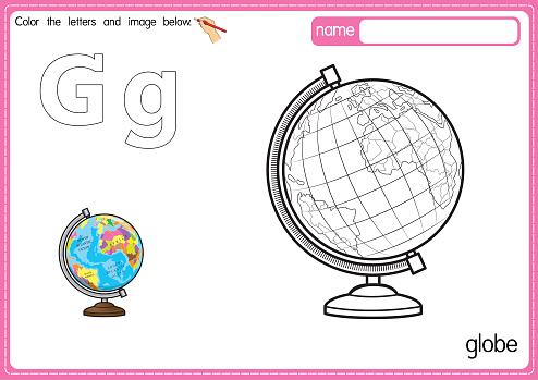 Vector illustration of kids alphabet coloring book page with outlined clip art to color. Letter G for Globe.
