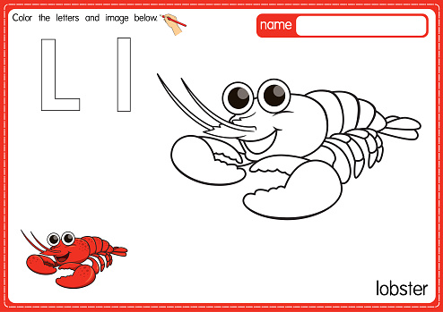 Vector illustration of kids alphabet coloring book page with outlined clip art to color. Letter L for  Lobster.