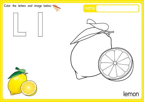 Vector illustration of kids alphabet coloring book page with outlined clip art to color. Letter L for  Lemon