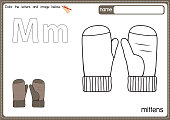 istock Vector illustration of kids alphabet coloring book page with outlined clip art to color. Letter M for  Mittens. 1329042121