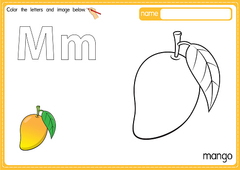 Vector illustration of kids alphabet coloring book page with outlined clip art to color. Letter M for  Mango.