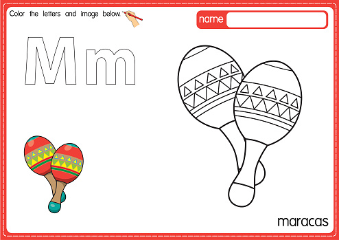 Vector illustration of kids alphabet coloring book page with outlined clip art to color. Letter M for  Maracas.