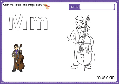 Vector illustration of kids alphabet coloring book page with outlined clip art to color. Letter M for  Musician.