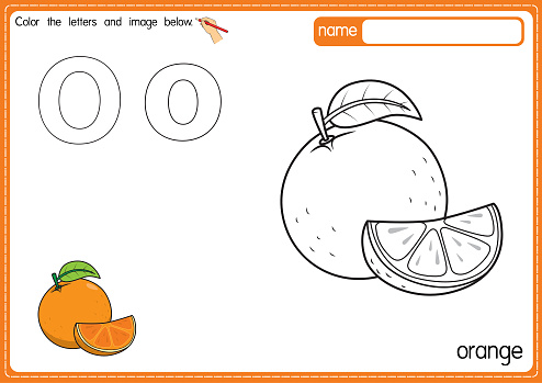 Vector illustration of kids alphabet coloring book page with outlined clip art to color. Letter O for  Orange.