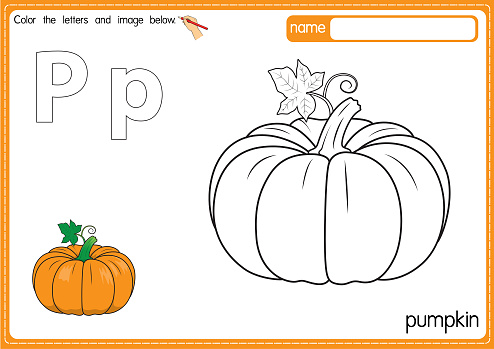 Vector illustration of kids alphabet coloring book page with outlined clip art to color. Letter P for  pumpkin.