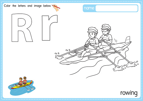Vector illustration of kids alphabet coloring book page with outlined clip art to color. Letter R for  Rowing.