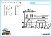 istock Vector illustration of kids alphabet coloring book page with outlined clip art to color. Letter R for  Restaurant. 1329301296