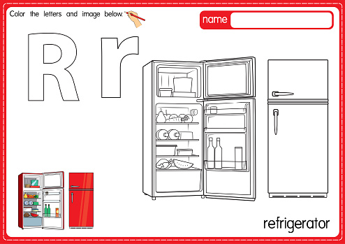 Vector illustration of kids alphabet coloring book page with outlined clip art to color. Letter R for  Refrigerator.