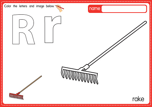 Vector illustration of kids alphabet coloring book page with outlined clip art to color. Letter R for  Rack.