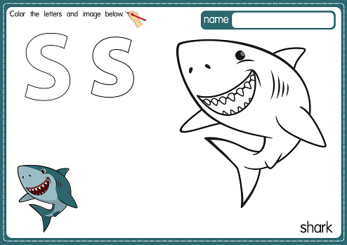 Vector illustration of kids alphabet coloring book page with outlined clip art to color. Letter S for Shark.
