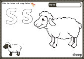 istock Vector illustration of kids alphabet coloring book page with outlined clip art to color. Letter S for Sheep. 1329302228