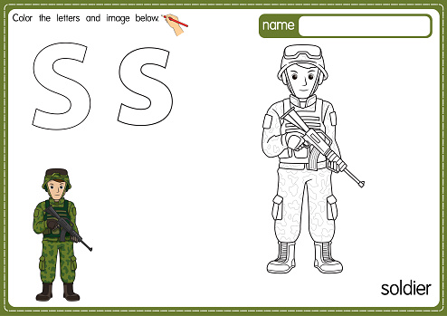 Vector illustration of kids alphabet coloring book page with outlined clip art to color. Letter S for Soldier.