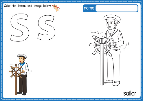 Vector illustration of kids alphabet coloring book page with outlined clip art to color. Letter S for Sailor.