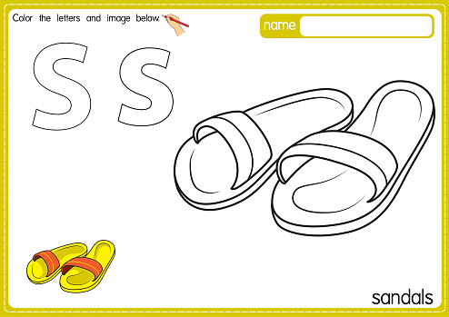Vector illustration of educational alphabet coloring page with cartoon for kids. Uppercase and lowercase letter for coloring, tracing, writing, do-a-dot, sticker, cut and paste, kids learning page.