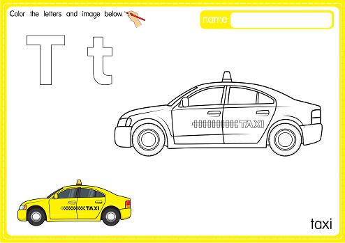 Vector illustration of kids alphabet coloring book page with outlined clip art to color. Letter T for Taxi.