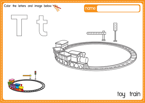 Vector illustration of kids alphabet coloring book page with outlined clip art to color. Letter T for Toy train.